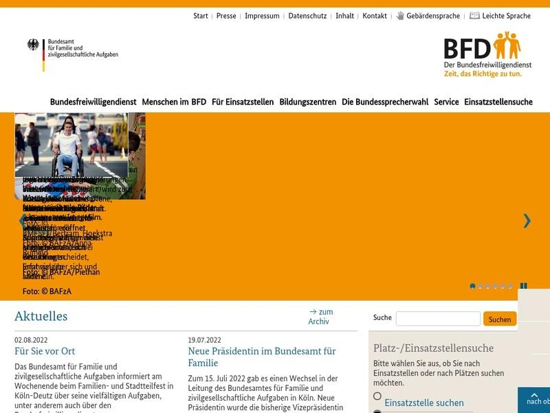 Screenshot von www.bundesfreiwilligendienst.de